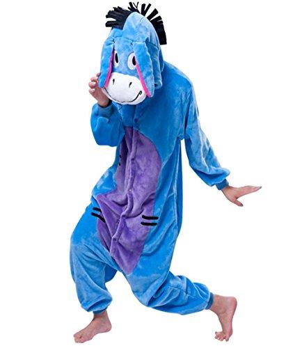 Wealsex Pyjama Animaux Cosplay Halloween Deguisement Adulte Femme Homme Unisexe âne