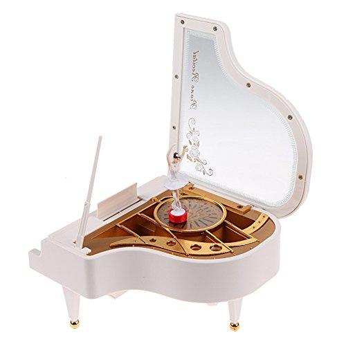 Crazystore Klavier-Form Uhrwerk Typ Rotary Klassische Spieluhr mit Stahl Ballerina Mädchen Modell für Halloween/Weihnachten/Valentinstag (Halloween Klavier Für Klassische Musik)