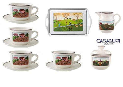 Villeroy boch. naif set 7 pezzi colazione (vassoio melanina - zuccheriera- cremiera 0,25-4 tazze colazioni 0,42l