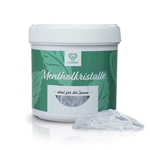 LoWell® - 100g Mentholkristalle in praktischer/wiederverschließbarer Dose - Premium-Qualität Sauna Kristalle Menthol