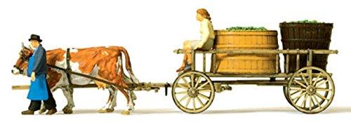 Modell Wein (Preiser 1/87th–pr30397–Modelleisenbahnen–Chariot mit Fässer Wein–Modell montiert)