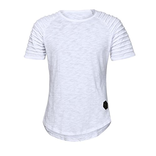 Leey manica corta tennis t-shirt camicetta casual plus size è caratterizzata da maniche a righe, scollo tondo e stile puro, tessuto leggero e non elastico, silhouette ampia (m, bianco)
