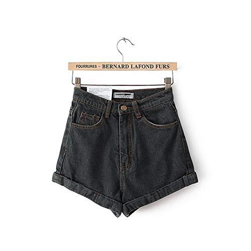 Frauen Shorts,Schwarz Grau Euro Style Frauen Denim Shorts Vintage Hohe Taille Cuffed Jeans Shorts Street Wear Sexy Sommer Frühling Herbst Shorts, 27. - Cuffed Jean Shorts
