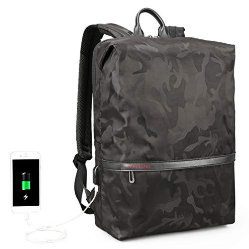 Reiserucksack Laptop, KINGSONS Camo Rucksack mit USB-Aufladung Wasserdicht Stoßfest Resistent Business-Rucksack passt 15.6inch Laptop Männer/Frauen (Schwarz)