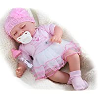 "The Magic Toy Shop 17"" Realistic Reborn Handmade Sleeping / Open Eyes Baby Girl Boy Doll with Pacifier and Milk Bottle (Sleeping Girl)"