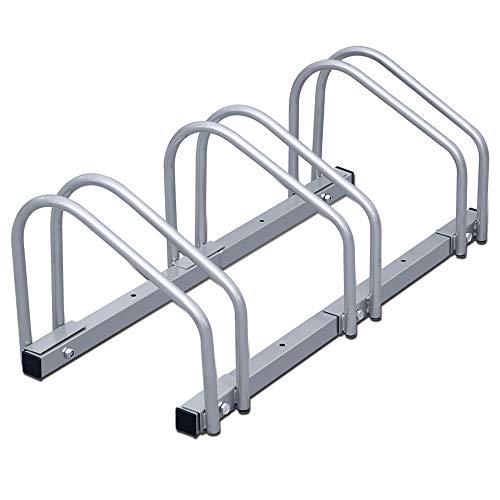 wolketon Fahrradständer Für 3 Fahrräder Boden- und Wandmontage Stahl verzinkt, 70.5 x 32 x 26 cm