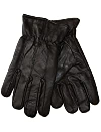 New Mens Thermal Lined Super Soft Fine Leather Warm Winter Dress Gloves Available in Black & Brown (Black Medium/Large)