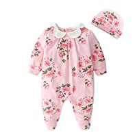 Newborn Infant Baby Girl Floral Round Neck Jumpsuits Spring Romper Jumpsuits Long Sleeve Jumpsuit Outfit Clothes with Hat Pink 66cm