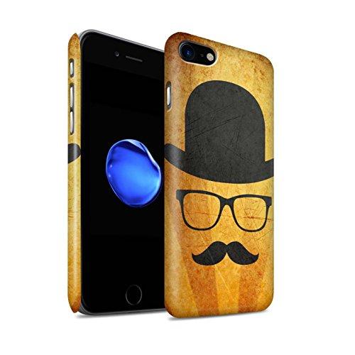 STUFF4 Matte Snap-On Hülle / Case für Apple iPhone 8 / Zylinder/Monokel Muster / Retro Schnurrbart Kollektion Melone Hut