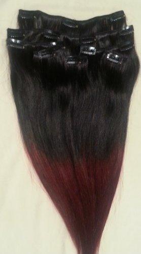 40,6 cm 7 extensions de cheveux 100% Remy Humains Ombre tendance 2014 à clipser # T1B/99J