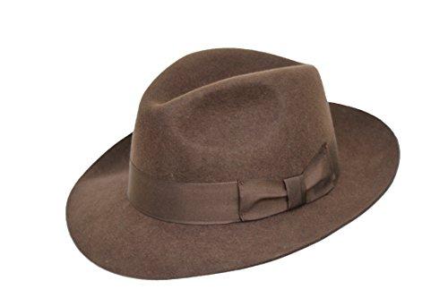 Hochwertige Handarbeit Herren Fedora Trilby-Hut, Filz, mit breiter Krempe, 100% Wolle