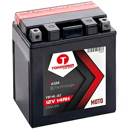 TOKOHAMA AGM Motorrad Batterie 14Ah 12V 255A/EN YB14L-A2, 12N14-3A (14AH YB14L-A2) 12v 14ah Batterie