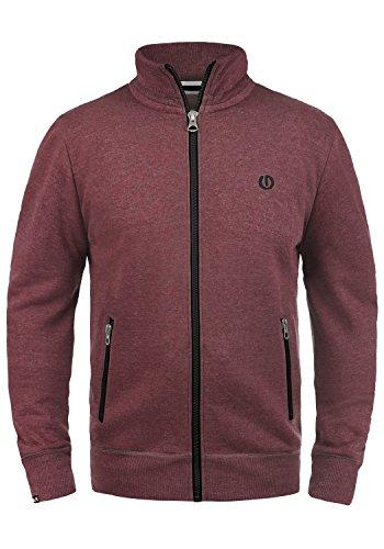 SOLID BennTrack Herren Sweatjacke Zip-Jacke mit Stehkragen aus hochwertiger Baumwollmischung Meliert, Größe:L, Farbe:Wine Red Melange (8985)