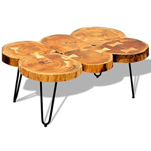 vidaXL Table Basse Table d'appoint en Bois Massif Sheesham 35 cm 6 Troncs Brun