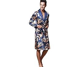 Bata Larga para Hombres Bata de Manga Larga Bata de baño de Hombre Pijama de Seda