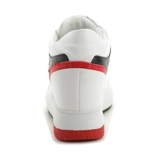Sportliche Damen Plateau Sneaker-Wedges Low-Top Sneakers Keilabsatz Weiß