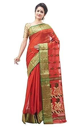 97997a95e6 ... Sarees; ›; Slice Of Bengal Handloom Tangail Tant Benarasi Saree Red  101001001051