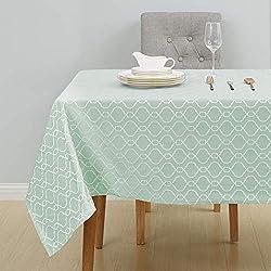 Deconovo Manteles Mesa Rectangular Estilo Marroquí Impermeable Mantel para Salón Comedor Cocina 137x200cm Verde