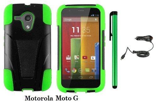 WAM Motorola MOTO G Premium Shield Hybrid Protector Case with Kickstand for Motorola Moto G (Verizon, Boostmobile) / Car Charger / 1 of New Metal Stylus Touch Screen Pen (Green/Black)