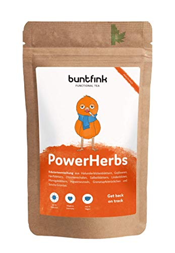 PowerHerbs Tee von Buntfink, mit Superfoods, Ingwer + Zitrone + Goji + Hanfbl