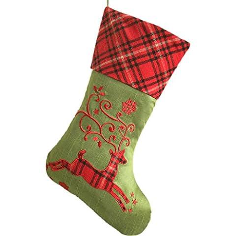 SORRENTO tinta in tessuto con ricami, motivo: renna, Plaid scozzese, corpo rigido 26,67 cm *(10,5-Calza di Natale 44,45 (17,5 cm colore: verde