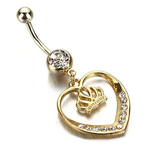Edelstahl Crown Navels Nabel-Ring-chirurgische Stahlstäbe Schmuck Piercings Dumbbells Goldblumen - (Belly Piercing Button Krone)