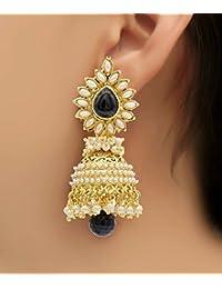Shining Diva Bollywood Inspired Pearl Polki Stylish Fancy Party Wear Traditional Jhumki Earrings For Girls & Women
