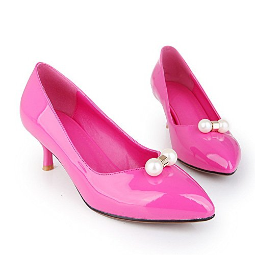 AgooLar Damen Rein Lackleder Mittler Absatz Ziehen Auf Pumps Schuhe Rosa