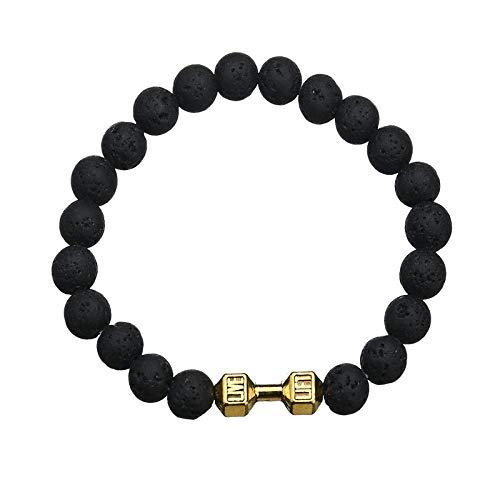 DYY 8MM Matte Achat Dumbbell Armband Jungen Fitness Armbänder Geschenke,Schwarz,Einheitsgröße