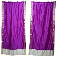 Mogul Interior 2 Indian Sari Curtain Drape Purple Window Treatment Wedding Decor Curtains