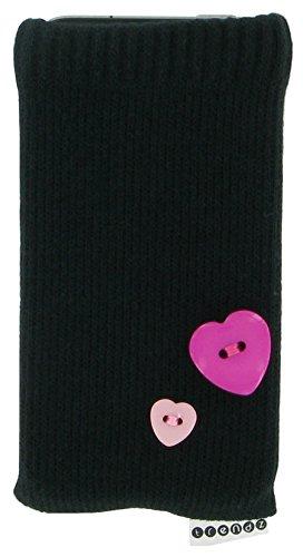 Trendz Universal Smartphone Socke Handysocke für iPhone, iPod und MP3 - Schwarz mit Herzknöpfchen Pink