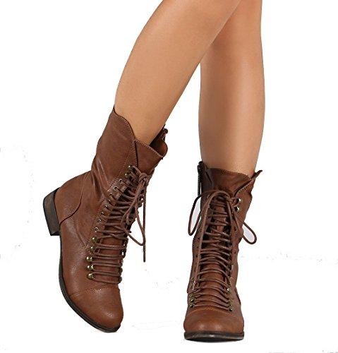 Fourever Funky De la Mujer Piel Encaje Hasta mitad de la pantorrilla botas–, color Beige, talla 37,5 EU (M)