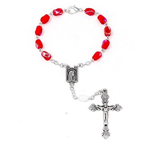 Catholic Gift Shop Ltd Einzelbett Jahrzehnt Auto Rosenkranz-Lourdes One Jahrzehnt rot Glas Rosenkranz Perlen, Gebet Karte (Rot Glas-rosenkranz)