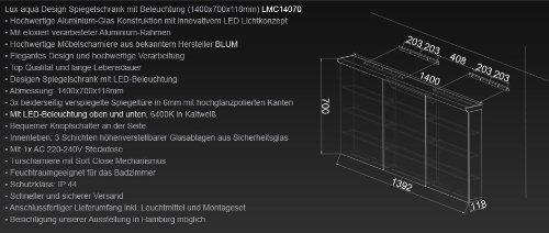 Lux-aqua Design Badezimmer Spiegelschrank mit LED Beleuchtung 140 x 70 cm - LMC14070 -