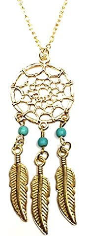 Fashion Gold Dream Catcher Pendant Chain Necklace - Three Turquoise Beads Charms Women Girl Leaves Leaf Unique Novelty Dreamcatcher Feathers - Dojore