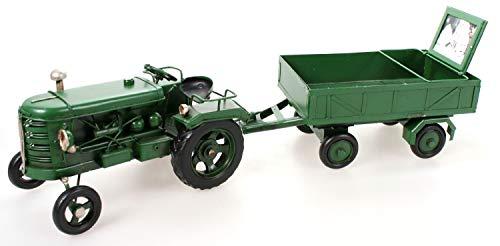 Metall Traktor mit Anhänger und Bilderrahmen grün 38 cm Blech Modell Schlepper Trecker