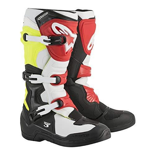Alpinestars Stivale Motocross Tech 3 Nero Bianco Giallo Fluo Rosso - 10