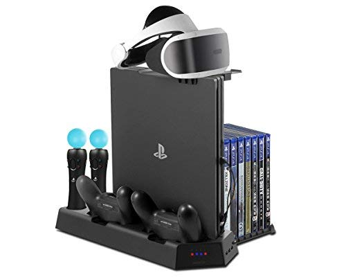 PlayStation Vertikaler Standfuß - ElecGear PSVR Headset vertikal Ständer, 3x USB Hub, Lüfter Kühler, ladestation ladegerät Stand, 14 Spiele Halter für DualShock, Move Motion Controller, PS4, Pro, Slim Multi-line Wireless Headset