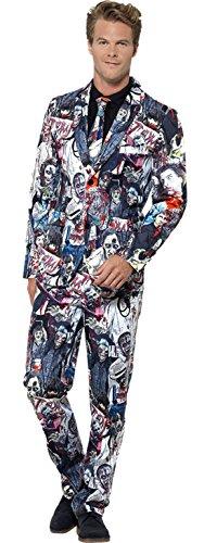 Zauberclown - Herren Zombie Anzug Komplett Kostüm Karneval Halloween, Mehrfarbig, Größe (Anzug Comic Kostüme Körper)