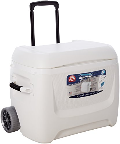Igloo Kühlbox Marine Breeze Ultra Eisbox mit Rollen 50 QT weiss LION Edition , Kühlung bis zu 5 Tagen, ideal für Camping, Boot, Festivals, Angeln, 47 Liter Fassungsvermögen
