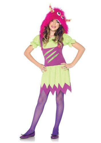 Leg Avenue C48172 - Monster Kostüm mit angebrachter Kapuze, Größe L, grün/lila (Mädchen Morphsuits)