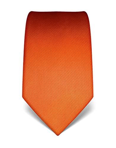 Extra Lange Wolle Anzug (Vincenzo Boretti Herren Krawatte reine Seide Ton in Ton gestreift edel Männer-Design zum Hemd mit Anzug für Business Hochzeit 8 cm schmal/breit orange)