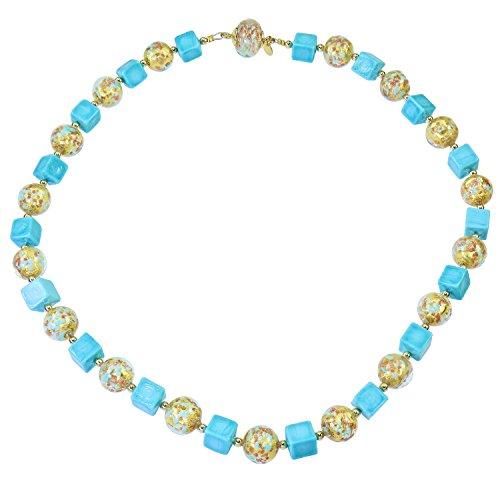 Aleksander Sternen Murano Star Muranoglas Damen-Halskette Fortuna Aventurinquarz Blattgold Magnetschloss (Stern-rubin Stein)