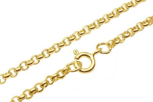 Antomus® in argento Sterling 925placcato oro 18(2.5mm) Link Belcher rotondo fatto in Inghilterra dimensioni 7,5, argento, colore: Silver, cod. GPSB1420