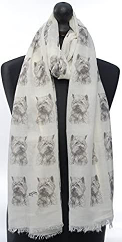 West Highland Terrier Fashion Design Limited Edition Ladies Scarf - Exclusive Mike Sibley Fashion Scarf Signature Collection - Perfect Gift for Any Dog Lover - Hand Printed in the