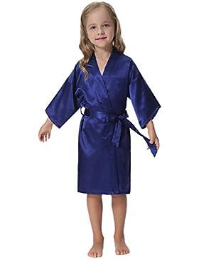 Aibrou Kimono Ragazza Vestaglie Scollo a V Kimono Corto da Notte in Raso Con Cintura,Bambina Pigiama, Pavone Esotici...