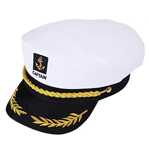 Poualss Kapitän Hat Sailor Cap Navy Beanie Hut für Erwachsene Kinder Kostümzubehör (Weiß) (Herr Bill Halloween-kostüme)