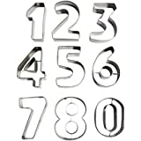 KurtzyTM Moldes Galletas Números Grandes Metal Hornear Pastel Decorar Glaseado Cortador Fondant 0-9
