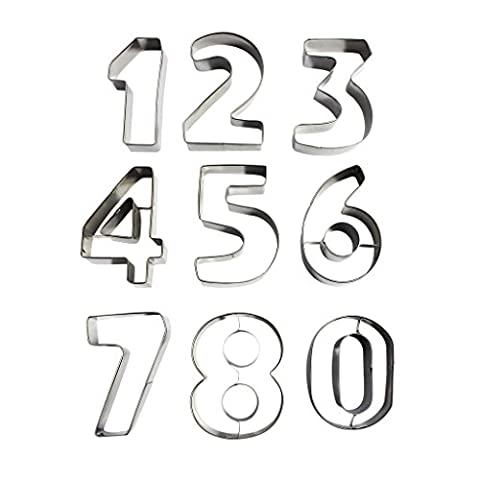 9 Piece Large Metal Number Shaped Cookie Cutter Set by Kurtzy - Stainless Steel Cutters Including Numbers 0 - 9. Perfect Shapes for Baking Cookies Cake Decorating Icing Fondant and Sugarcraft