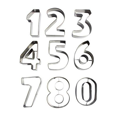 Kurtzy 9 Keksausstecher in Zahlenform aus Metall - Edelstahl-Ausstecherset der Zahlen 0 - 9. Perfekte Formen für das Backen von Keksen u. Dekoration von Kuchen, Glasur, Fondant und Zuckerkreationen